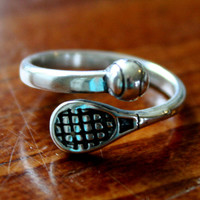Tennis Player Ring, Tennis Coach Gift, I love Tennis Jewelry (Sterling Silver Adjustable Ring, One size fits all)