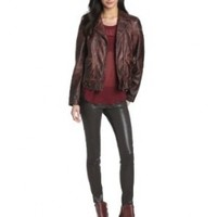 KUT from the Kloth Women's Dean Faux Leather Jacket, Bister, Medium