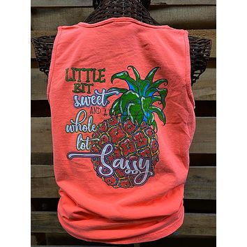 Southern Chics Apparel Pineapple Sweet & Sassy Comfort Colors Girlie Bright T Shirt Tank Top