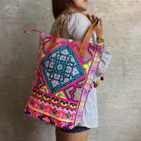 Pink Tile style Beach bag / Gift for her / Neon Bag / Shopping bag / Beach totes / Boho tote Summer / Bachelor Party