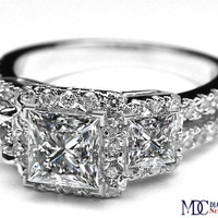 Engagement Ring - Three Stone Princess Diamond Halo Engagement Ring with Split Band in 14K White Gold - ES1096
