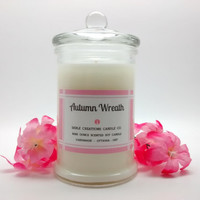 9oz Autumn Wreath (Yankee Type), Scented Candles, Soy Candles, Christmas Gifts, Gift Ideas, Apples & Cinnamon, Spicy Warmth