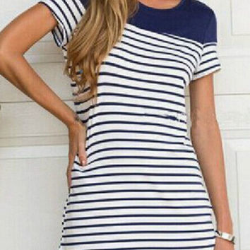 Blue White Short Sleeve Striped Shift Mini Dress