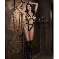 Fetish Faux Leather-look Stretch Knit Strapy Teddy W-elstic G-string Bck & Wrst Rstrants Blck O-s