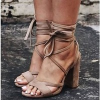 Stylish Design Summer High Heel Plus Size Shoes Sandals [200847523855]