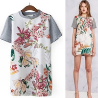 Print Patchwork Knit T-shirts Dress Skirt One Piece Dress [5013256772]