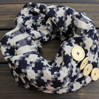 Houndstooth Scarf, Winter Scarf, Knit Infinity Scarf, Infinity Knit Scarf, Woven Scarf, Women's Infinity Scarf, Button Scarf, Cozy Scarves