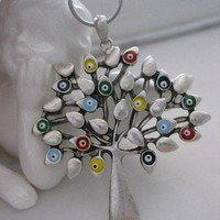 Lucky Evil Eye Life Tree Earring - Necklace set - Silver pl.