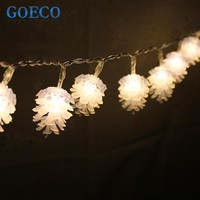 20LED PineCone Shape Holiday Fairy String Lights Battery Operated 2Meters Long String Lights for Outdoor Indoor Xmas Party use