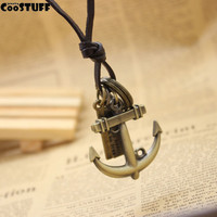 necklaces & pendants collares Men Women Cool Rock Punk Cross Anchor pendant vintage leather cord necklace lovers long necklace