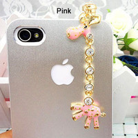 Bling Anti Dust Plug for iphone 5.4.4s - giraffe 4 colors for choose