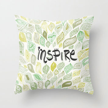 Inspire Typography and Nature Leaves Throw Pillow – 3 Sizes Available