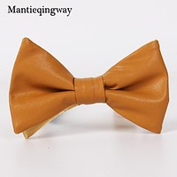 Bow Tie Candy Color PU Leather Wedding Bow Tie Neckwear Accessories Fashion Skinny Bow Ties For Men