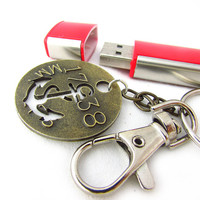 Steam Punk Anchor USB Flash Keychain, Gift for Guy, Keychain with Flash Drive