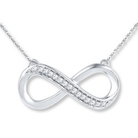 Diamond Infinity Necklace 1/10 ct tw Round-cut Sterling Silver