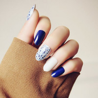 Stylish 24 PCS Little Cross Pattern Blue White Nail Art False Nails