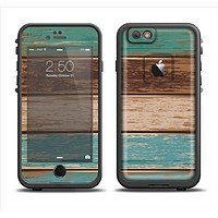 The Wooden Planks with Chipped Green and Brown Paint Apple iPhone 6 LifeProof Fre Case Skin Set