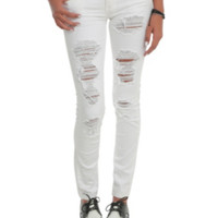 Machine White Ripped Skinny Jeans