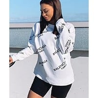 BALENCIAGA Fashion Women Casual Print Long Sleeve Round Collar Sweater Pullover Top White