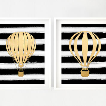 Set of 2 - Hot air balloon prints in gold foil and black & white stripes