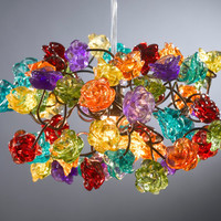 Ceiling light fixture. Rainbow color roses.