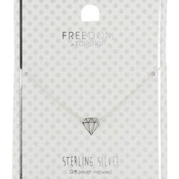 Sterling Silver Diamond Outline Ditsy Necklace - Silver