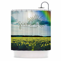 "Robin Dickinson ""You Are My Sunshine,Rainbow"" Blue Yellow Shower Curtain"