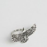 ASOS Eagle Ring In Burnished Silver