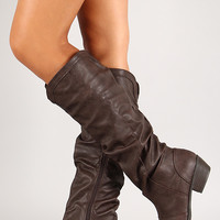 Scrunched Round Toe Knee High Boot