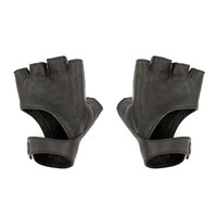 Black Fingerless Gloves - Leather Gloves - Riding Gloves - Fingerless Gloves