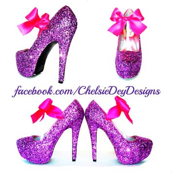 Hot Pink Glitter High Heels, Purple Platform Prom Pumps