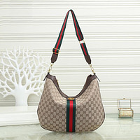 GG Women's Red and Green Striped Double G Shoulder Bag Messenger Bag