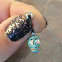 Turquoise Skull Rook Daith Eyebrow Belly Button Ring