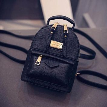 University College Backpack The New Women Female  Shoulder Bag Messenger Mini Small   Wind Pu Leather Simple Retro Leisure Black BagAT_63_4