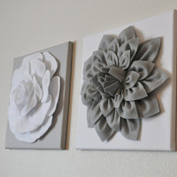 TWO Wall Flowers Gray Dahlia on White and White Rose by bedbuggs