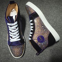Cl Christian Louboutin Rhinestone Style #1932 Sneakers Fashion Shoes