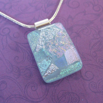 Light Blue Dichroic Necklace, Hand Crafted Jewelry, Mothers Day Gift, Fused Glass Jewelry - Patience - 3535 -4