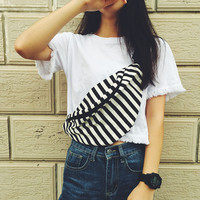 Striped Oversize Fanny Pack