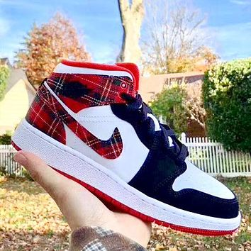 NIKE Air Jordan1 MID AJ1 broken Christmas denim lattice Blak red