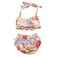 Summer Floral Toddler Baby Girls Halter Bikini set Swimwear Swimsuit Bathing Suit Two-Pieces