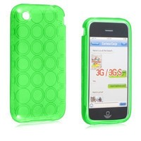 Neon Green Candy Case Hard Silicone Gel Skin with Circle Design Cover Case for Apple Iphone 3G 3GS