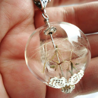 Wishing Orb Necklace Filled With Real Dandelion Seeds