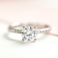 Dainty Ring - Simple Solitaire Ring - Minimalist Engagement Ring -  Birthday Gift for her - Cubic Zirconia Silver Ring