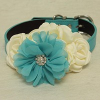 Ivory Blue Rhinestone flower attach to blue, Ivory, black, brown, copper or Champagne leather collar, Some thing blue, girl dog collar , Wedding dog collar