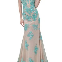 Sunvary 2016 Cap Sleeves Mermaid Lace Prom Evening Dresses for Mother of the Bride Bridesmaid Gown Pageant US Size 16- Champagne and Blue