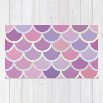 Purple Mermaid Scale Rug, Girls Nursery Rug, Pretty Mermaid Nursery Decor, Pastel Purple Mermaid Bedroom Rug, Children's Purple Bedroom Rug
