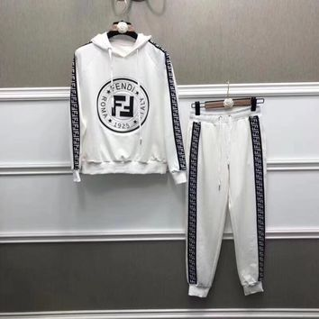Fendi Print Hoodie Top Sweater Pants Sweatpants Set Two-Piece Sportswear