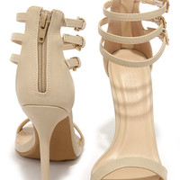 Triple Thrill Natural Ankle Strap Heels