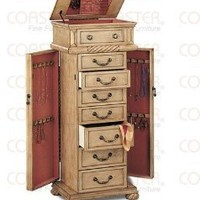 Jewelry Armoires Light Finish with Green Tinted Jewelry Storage Armoire with Mirror