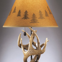 """0-000028>24""""h Derek Set of 2 of Rustic Antlers and Pine Cone Table Lamps"""